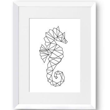 Seahorse, Ocean, Love, Marine, Fish, Mythical Creature, Swedish, Home Decor, Modern art, Scandinavian Print, Printable art, digital Print