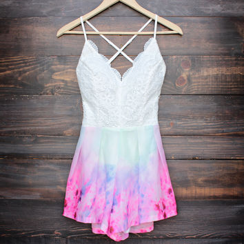 tie dye watercolor crochet open back romper