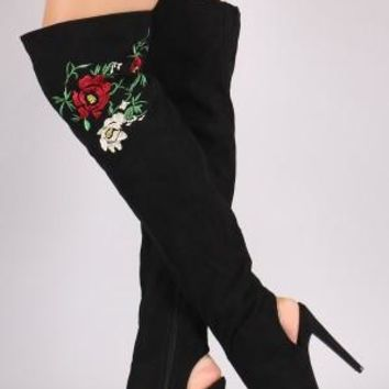 Floral Suede Over-The-Knee Boots For Women By Qupid | Shop Women's Fashion Lovely Stylish Boots Soft Vegan Suede Upper Embroidered Floral Suede Peep Toe Silhouette Cutout Heel Over-The-Knee Boots