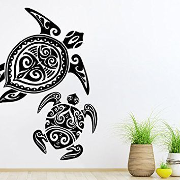 Wall Decal Vinyl Sticker Decals Turtle Tortoise Tortoiseshell Ocean Sea Bathroom Wall Decor Wall Stickers Home Decor Art Bedroom Design Interior Mural C145