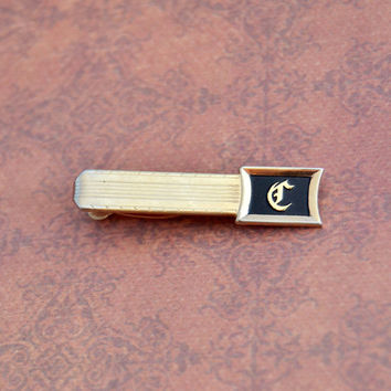 Vintage Hickok USA, Letter C Initial, Black Gold Tone Tie Clip, Mens Estate Jewelry, Groom Suit Wedding Accessories, Husband Boyfriend Gift