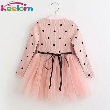 Keelorn Girls Dress 2018 New Autumn Mesh Girls Clothes Long-sleeve Dot Mesh Design Princess Dress Children Winter Clothing