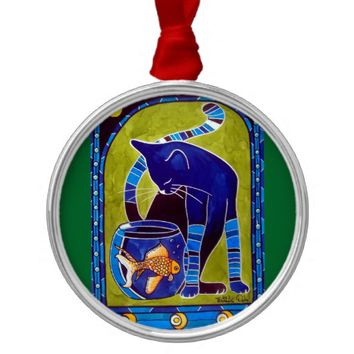 Blue Cat With Goldfish Whimsical Cat Art Metal Ornament