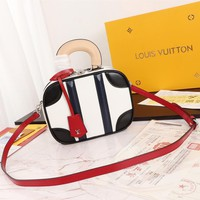 Kuyou Gb2981 Louis Vuitton Lv M44582 Monogram Mini Luggage Handbags White Should Bag 20*16*7cm