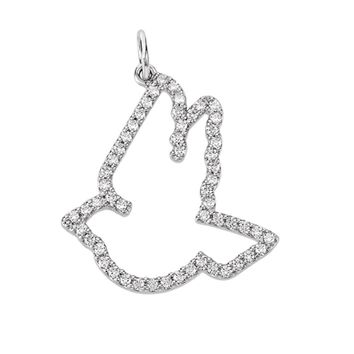 1/4 cttw Diamond Dove Necklace in 14k White Gold