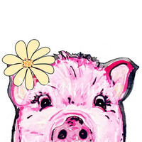 Pig face painting watercolor digital download -farm animal printable- farmhouse wall decor -Whimsical pig animal -nursery wall art