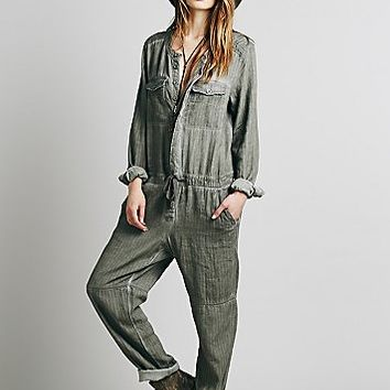 Free People Womens Castaway Herringbone Coverall