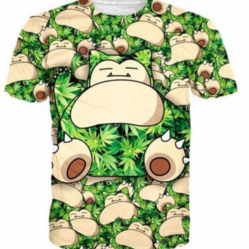3D Cartoon New Fashion Weed Leaf and Snorlax Pocket Monster T-Shirt Summer Tops Short Sleeve T Shirts For Women and Men