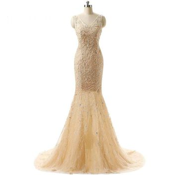 Noble champagne mermaid prom dress lace prom dresses long train evening gown to the floor