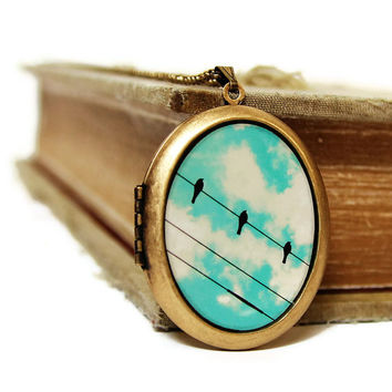 Three Little Birds - A Trio of Birds On A Wire Against A Turquoise Cloudy Sky - Grande Photo Locket Necklace