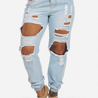 High Waisted Cotton Jean Joggers with Ripped Front (Light Wash)