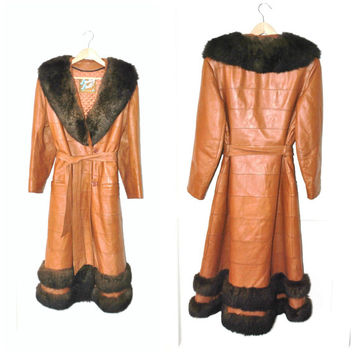 fur collar long LEATHER coat / vintage 1970s almost famous RETRO orange + brown genuine fur trim fitted PRINCESS winter coat medium