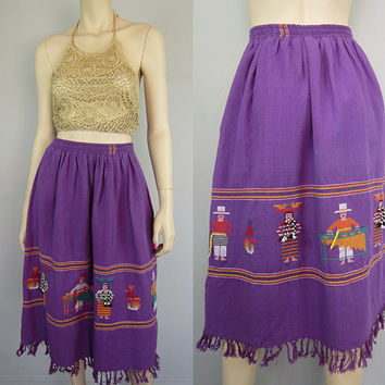 Vintage Guatemalan Embroidered Fringe Skirt 3D Figural Birds Musician Purple Cotton Gathered Gypsy Hippie Boho Skirt