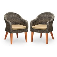 Guam 2-pk. Wood & Wicker Patio Dining Chairs