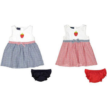 Baby Girl Seersucker Dress with Panty - Plaid with Strawberry