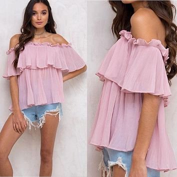 Blusas 2017 Summer Style Womens Boho Blouse Sexy Women Lace Patchwork Casual Off Shoulder Solid Shirts Slash Neck Tops Plus Size