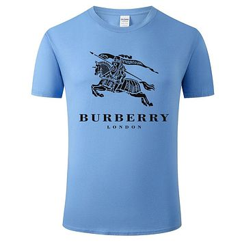 Burberry New fashion war horse letter print couple top t-shirt Blue