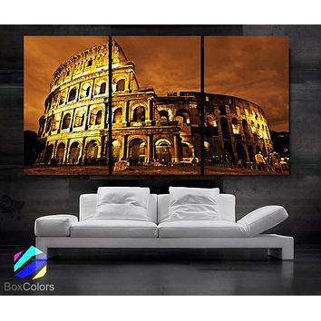 """LARGE 30""""x 60"""" 3 Panels Art Canvas Print Beautiful Roman Colosseum Coliseum italy Wall Home (Included framed 1.5"""" depth)"""