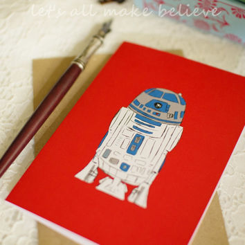 Star Wars Inspired Card R2D2 Blank Greeting Card Red White Blue Note Card