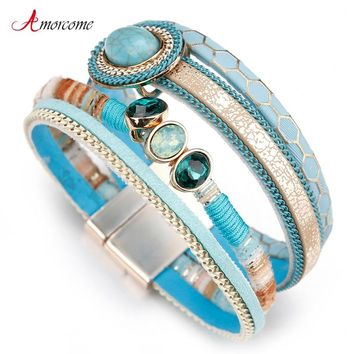 Amorcome Blue Stone Leather Bracelets For Women Rhinestone Crystal Vintage Bohemian Wide Bracelets & Bangles Female Jewelry