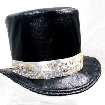 Wedding Groom Top Hat Black Faux Leather Top Hat, Chili Pepper Lining, White Vintage Beaded Hat Band, Black Velvet Hat Lining (Example)