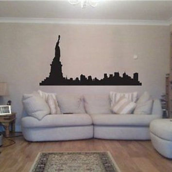 New York Skyline NY City View Statue of Liberty Wall Art Sticker Decal 04a