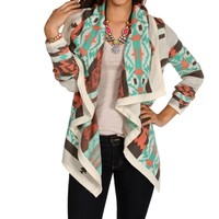 IvoryMintCoral Tribal Cardigan