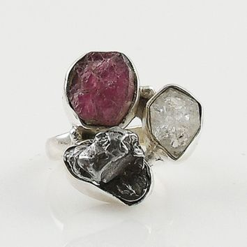 Pink Tourmaline, Campo de Cielo Meteorite & Herkimer Diamond Sterling Silver Ring