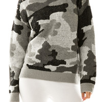 ARMY PRINT STUDDED SWEATER-GRAY