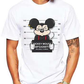Anime Mickey Mouse Mug shot  t-shirt MEN TOPS short sleeve casual funny cartoon tshirt homme comfort