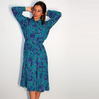 Vintage Classy Paisley Dress, Flowy Long Sleeve Collared Dress, xs small medium Green