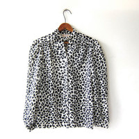Vintage black & white printed blouse. sheer blouse. ascot tie. animal printed. modern chic shirt.
