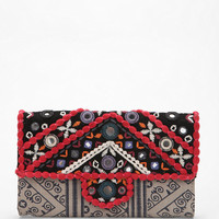 Ecote Jasmina Geo Mirror Embroidered Checkbook Wallet
