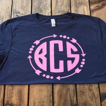 Custom Circle Monogram Tee in Navy