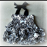 Black and White Damask Ruffle Halter Style dress size NB 3 6 9 12 24 months, size 2 3 4 5 6