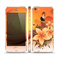 The Coral Colored Floral Pelical Skin Set for the Apple iPhone 5s