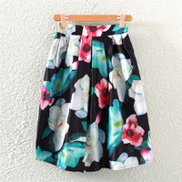 Vintage Lotus Print Pleated Midi Skirt