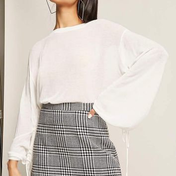 Drawstring-Sleeve Knit Top