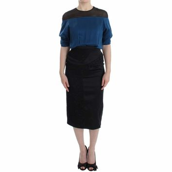 Blue Black Silk Shift Sheath Dress