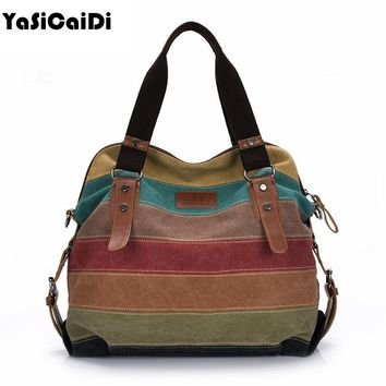 Fashion Women Canvas Shoulder Bag Famous Designer Messenger Bags Ladies Striped Women Bags Large Capacity Crossbody Bags Sac