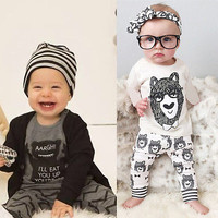 Toddler Baby Boy Girls Monster Tops T-shirt+Pant Two-piece Outfit Set Playsuit