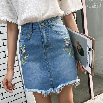 2017 women clothing high waist floral embroidery raw edge washed denim skirt Female fashion casual slim A-Line mini jeans skirts