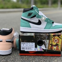 Air Jordan 1 Retro High OG WMNS Mismatch Colors Light Green Hue And Nude Tone | 555441 889 - Best Online Sale