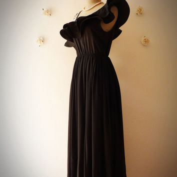Black Prom Dress Black Maxi Dress Super Gorgeous Party Dress Night Dress One Shoulder Glam Beads High Fashion look- Fit great size S and M