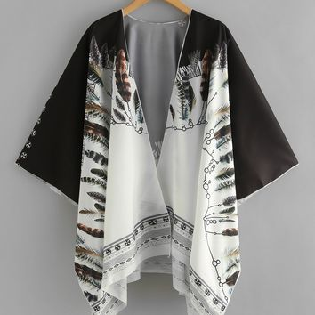 Feather Print Kimono Cover Up