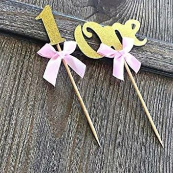 "Package Value first Birthday Cupcake Toppers Party Decoration ""One"" & ""Number 1"" &. Gold Glitter With Elegant Pink Bow. A Special Baby Girl Shower Decoration - 16 Count."