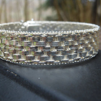 Milor Italian 925 Silver Bracelet Approx 40g 7.5 inches Basket Weave Vintage Couture Retro Designer Fashion Jewelry Ladies Accessories
