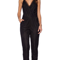 Greylin Liza Scalloped Lace Jumpsuit in Black