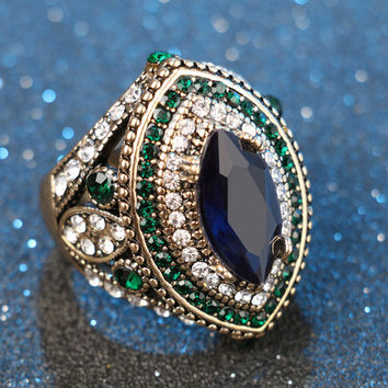 Luxury Vintage Jewelry Big Turquoise Wedding Rings For Women Plating Gold Mosaic Green Crystal 2017 New Fashion Accessories -0330