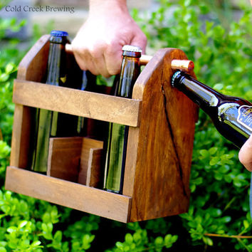 Beer Bottle - Home Brew Six Pack Carrier - Beer Bottle Carrier - Bottle Opener -EcoFriendly - Gift Idea - Men - Groomsmen Gift